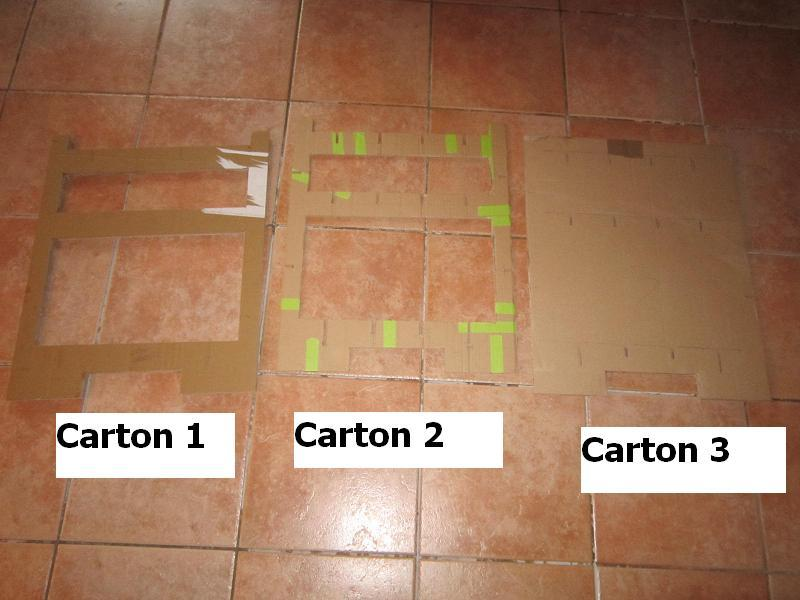 Les 3 cartons découpés